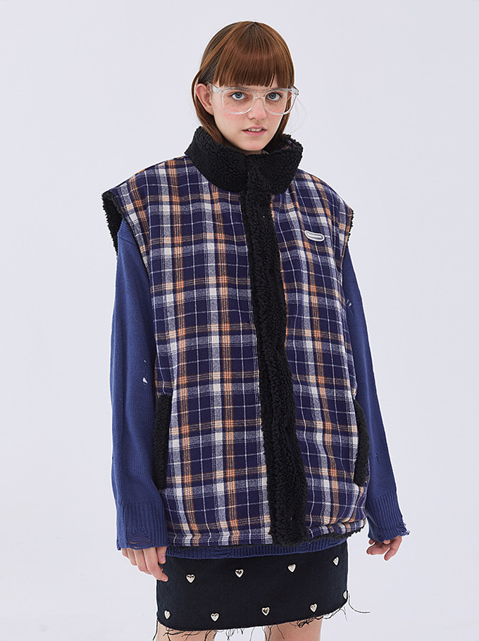 Some Check Wool Vest
